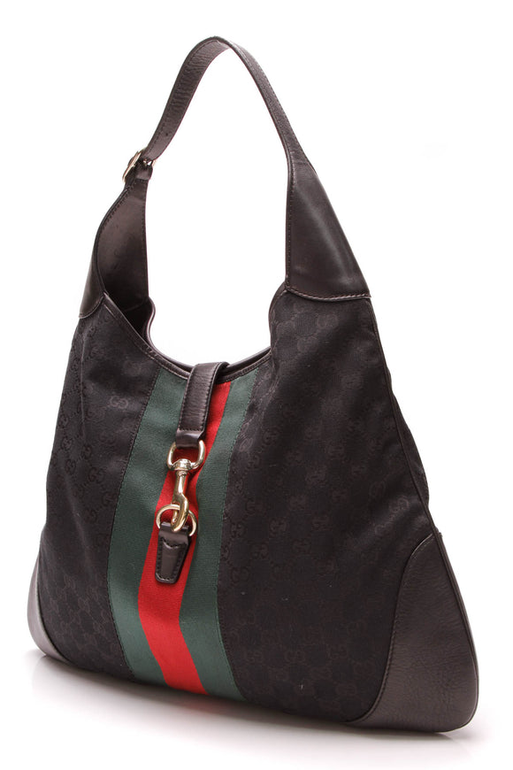 Gucci Large Web Jackie O' Bouvier Hobo Bag Black Signature Canvas