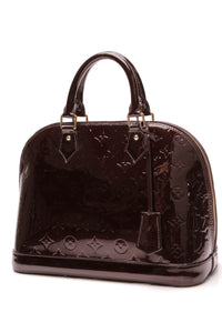 Louis Vuitton Alma PM Bag Amarante Vernis Dark Burgundy
