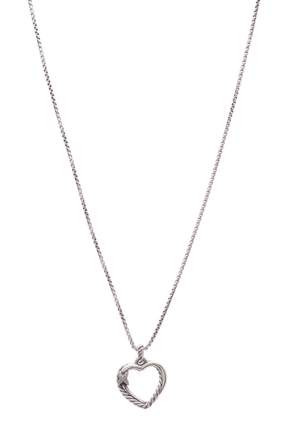 6152658620e David Yurman Petite X Heart Pendant Necklace Silver