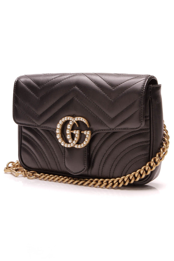 Gucci Marmont 2.0 Waist Belt Bag Matelasse Leather Black