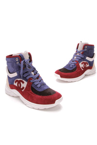 Chanel Suede CC High Top Sneakers Navy Red Size 38