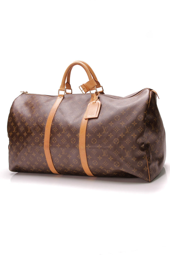 Louis Vuitton Vintage Keepall 60 Travel Bag Monogram Brown