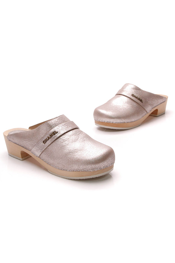Chanel Wooden Clog Mules Silver Size 40