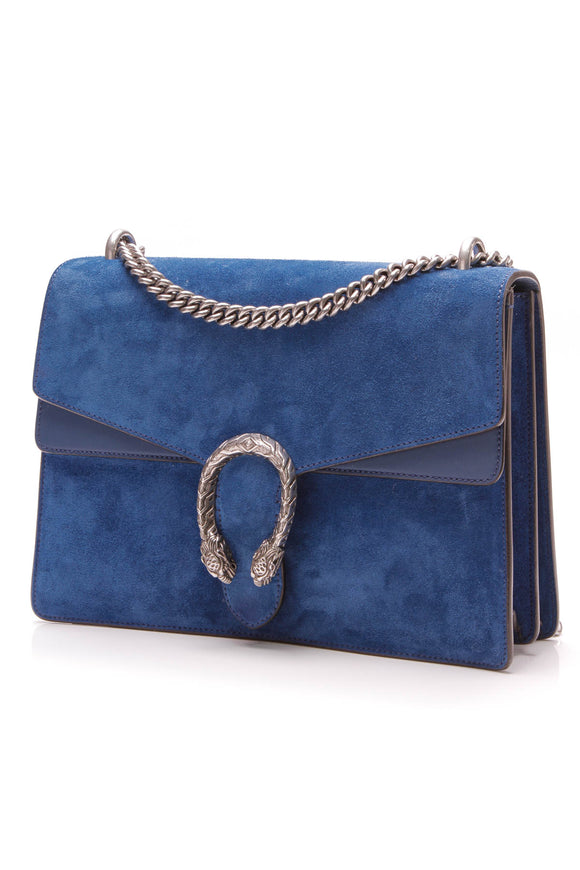 Gucci Suede Dionysus Medium Shoulder Bag Blue