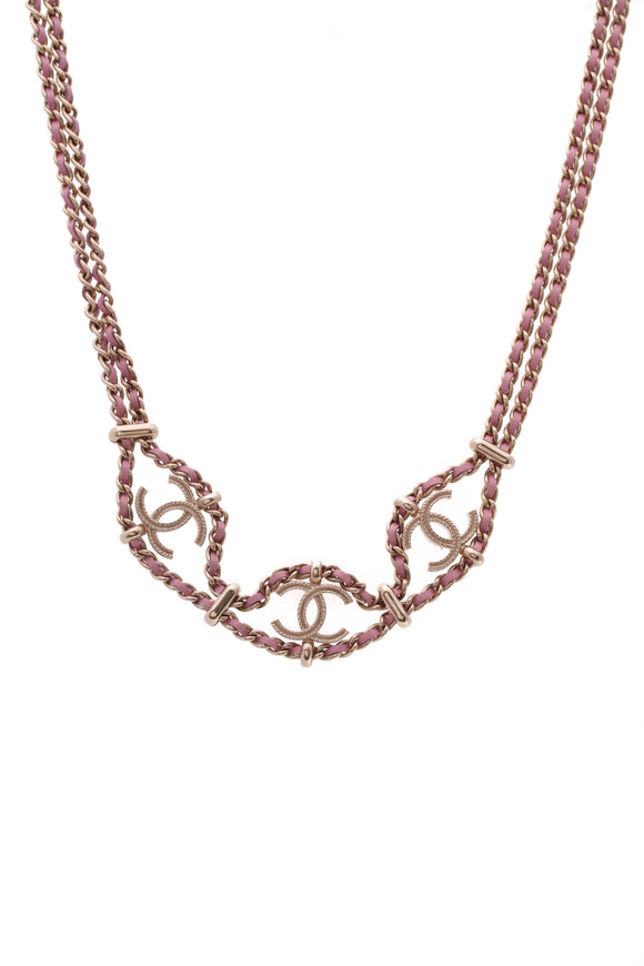 Chanel Chain CC Necklace Pink Gold