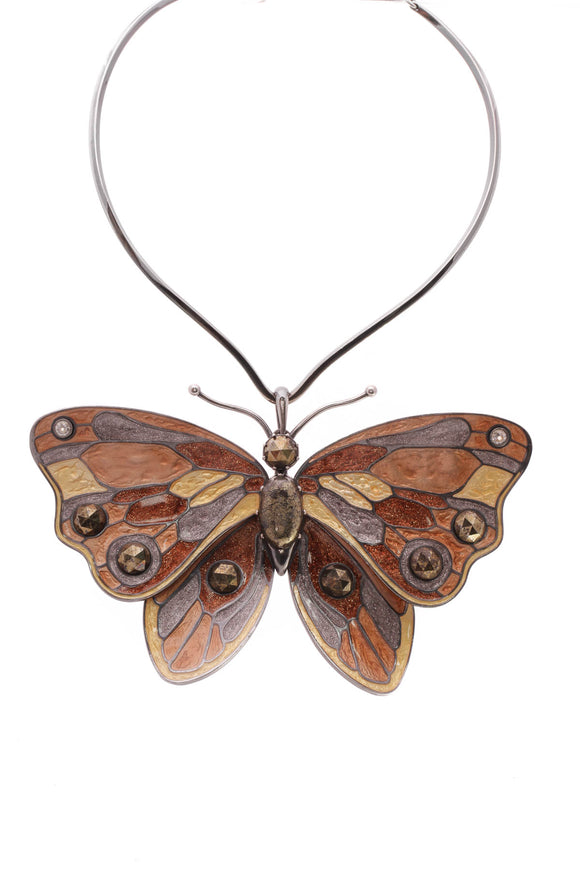 Bottega Veneta Antique Butterfly Necklace Multicolor
