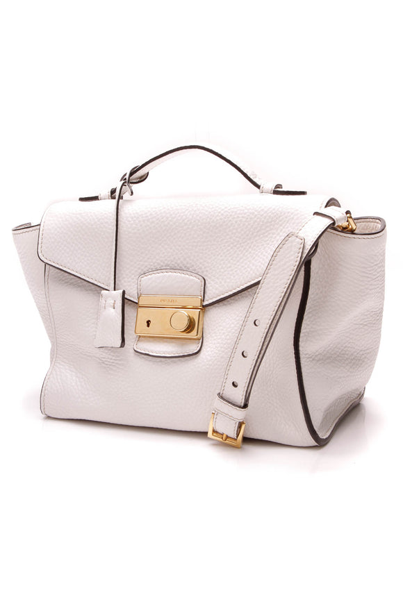 Prada Leather Flap Bag White