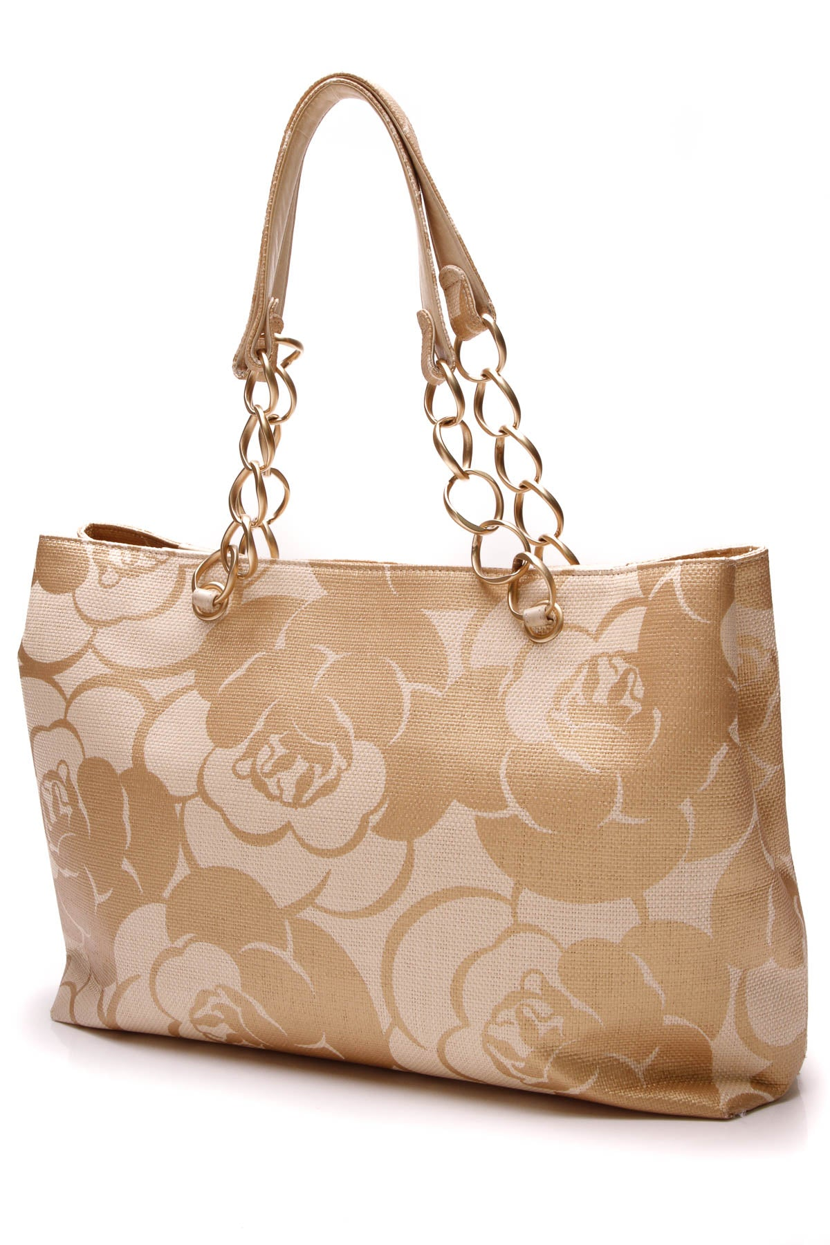 f41fb211805eb4 Chanel Straw Camellia Tote Bag - Beige/Gold – Couture USA