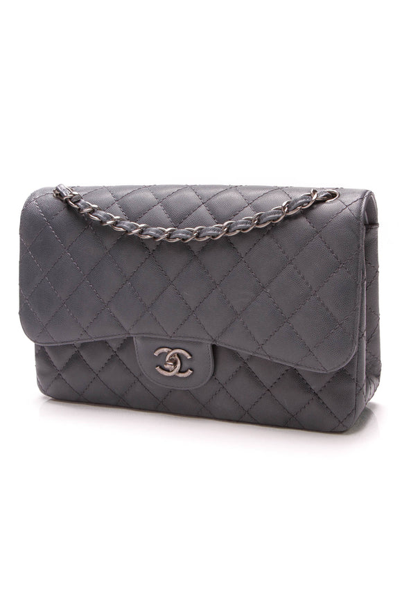 Chanel Double Flap Bag Jumbo Slate Gray Caviar