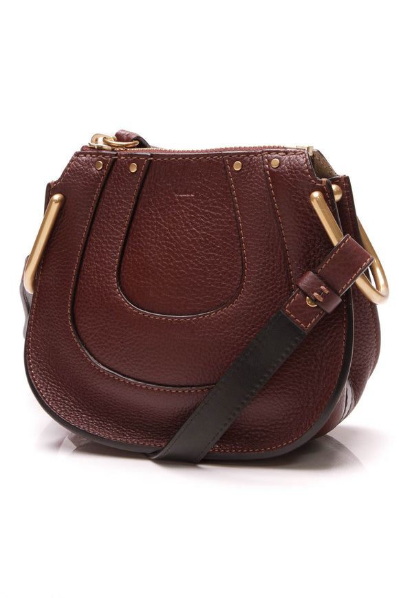 Chloe Nano Hayley Crossbody Bag Burgundy