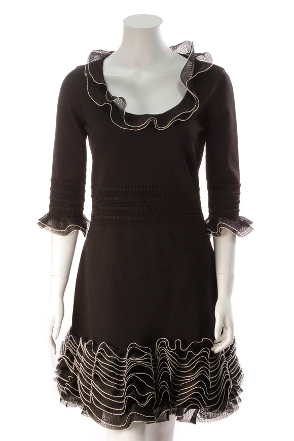 Alexander McQueen Knit Ruffle Dress Black Size XL
