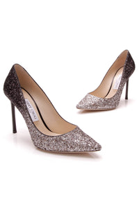 Jimmy Choo Romy Glitter 100 Pumps Silver Black Size 38.5
