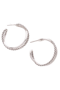 David Yurman Crossover Hoop Earrings Silver