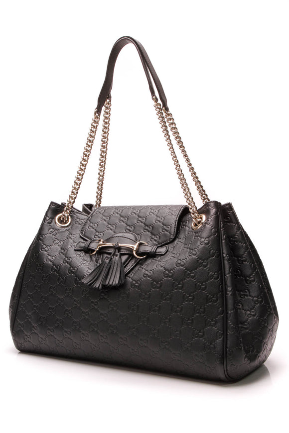 Gucci Emily Chain Flap Bag Black Guccissima Leather