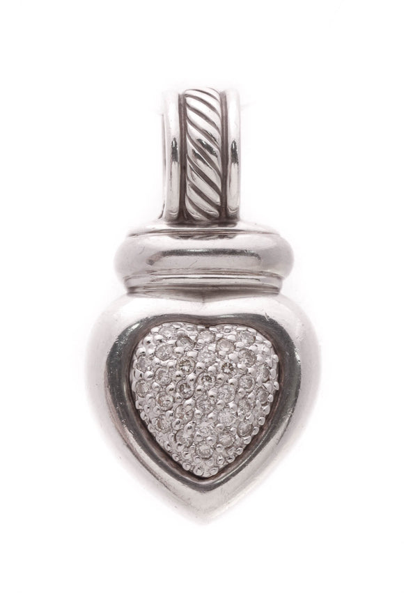 David Yurman Pave Diamond Heart Pendant Silver