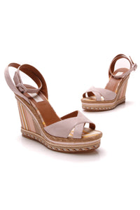 Valentino Striped Espadrille Wedges Pink Canvas
