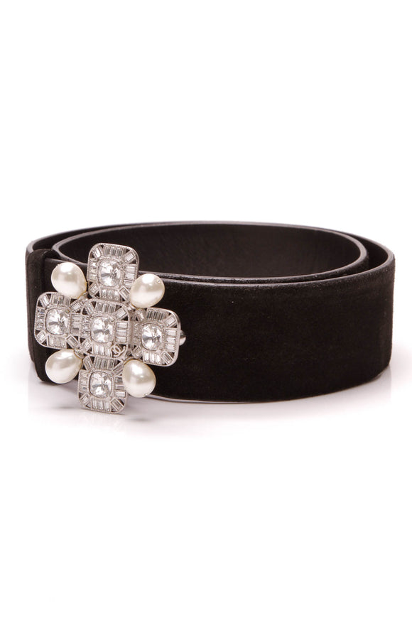 Chanel Crystal Pearl Buckle Belt Black Suede