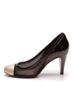 Chanel Mesh Cap-Toe Pumps Black Gold