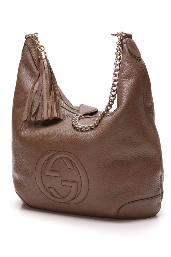 Gucci Soho Medium Chain Shoulder Bag Brown