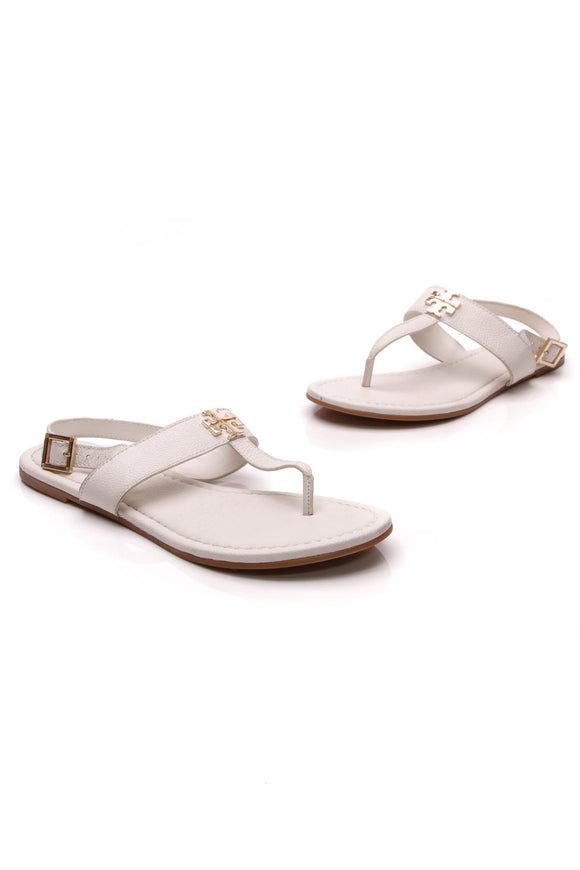 Tory Burch Laura T-Strap Sandals Ivory Size 9