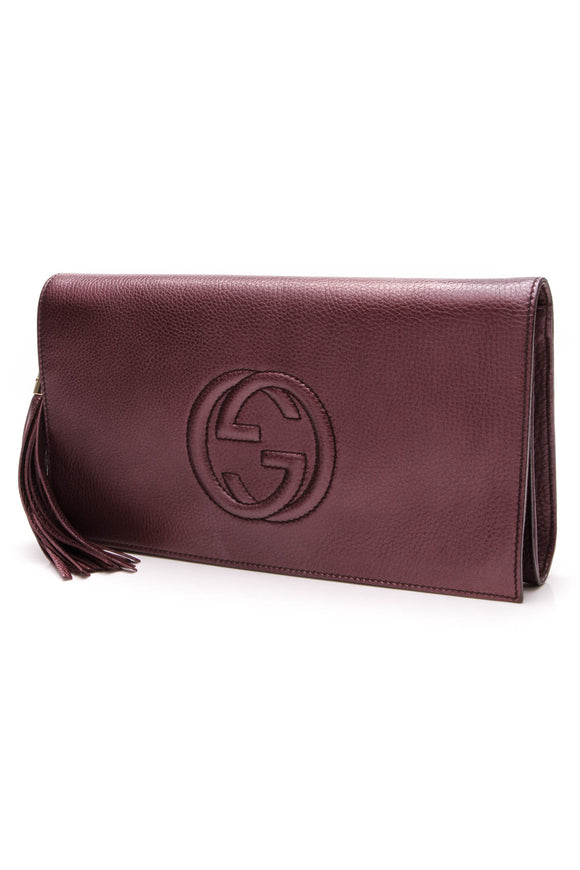 Gucci Soho Clutch Bag Metallic Purple