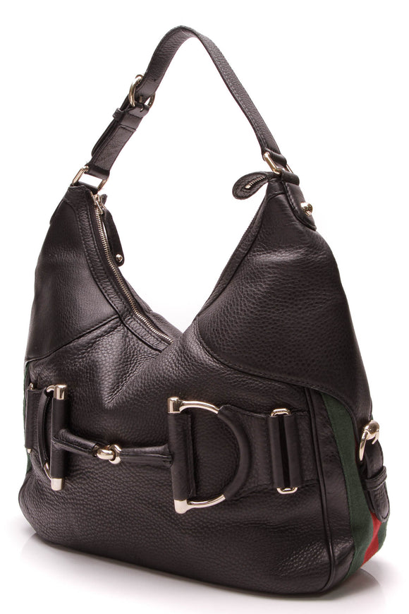 Gucci Heritage Horsebit Hobo Bag Black