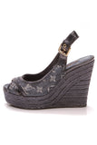 Louis Vuitton Bastille Espadrille Wedges Denim Size 36