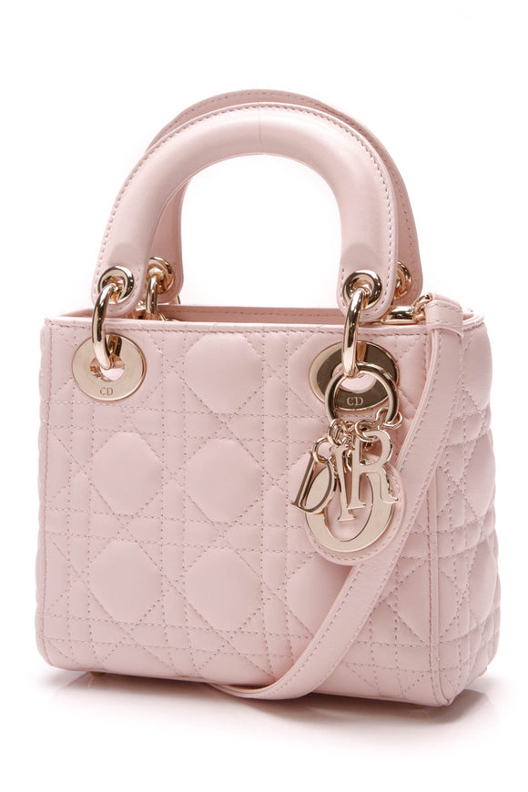 Christian Dior Cannage Mini Lady Bag Light Pink Lambskin