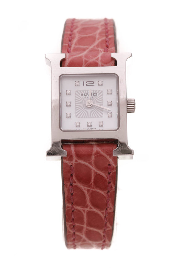 Hermes Heure H Mini Watch Pink Alligator