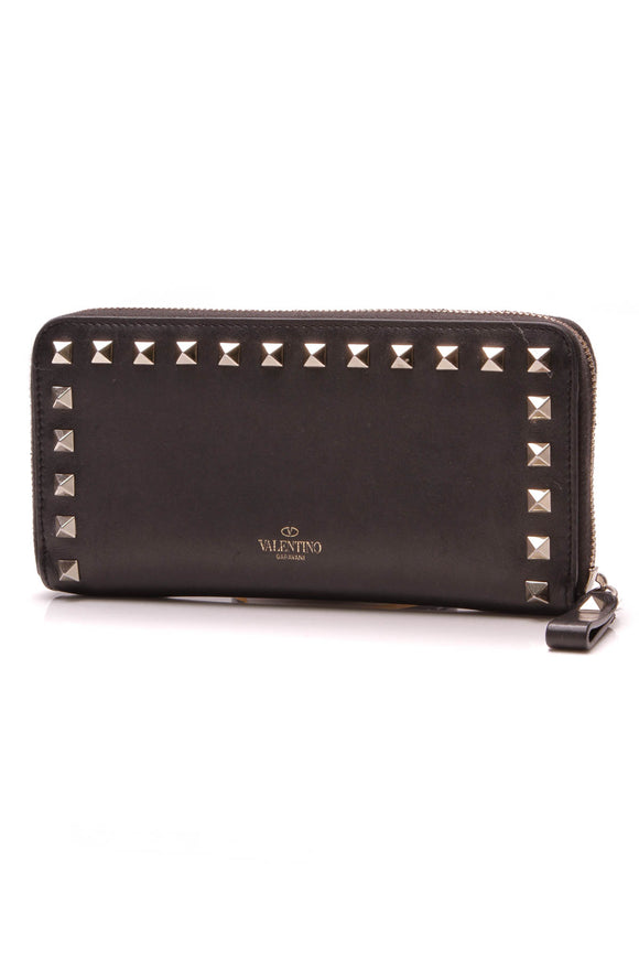 Valentino Rockstud Zip Around Continental Wallet Black