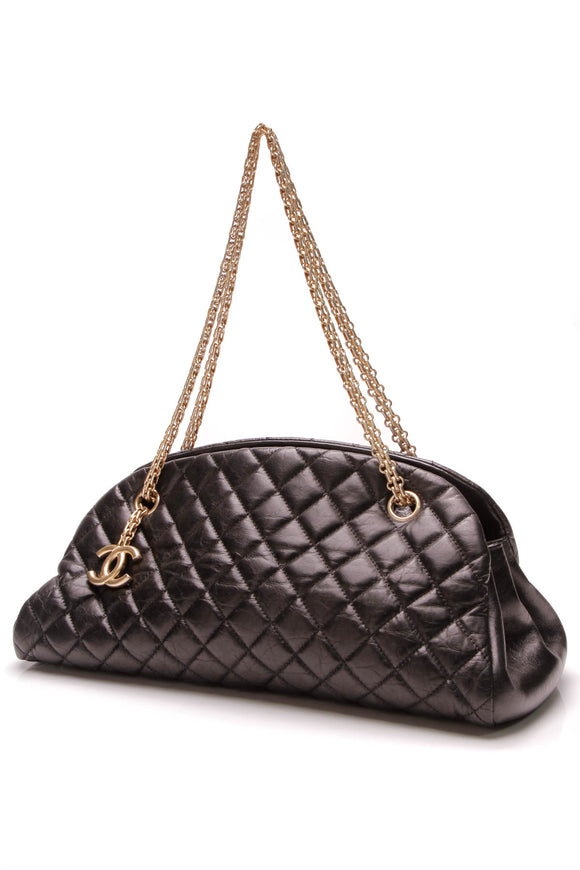 Chanel Just Mademoiselle Small Bowler Bag Black Lambskin