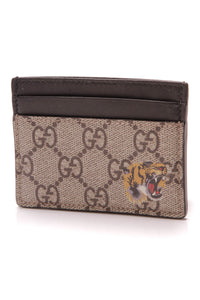 Gucci Bestiary Card Holder Wallet Supreme Canvas Brown