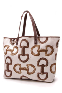 Gucci Horsebit Print Tote Bag Canvas Beige