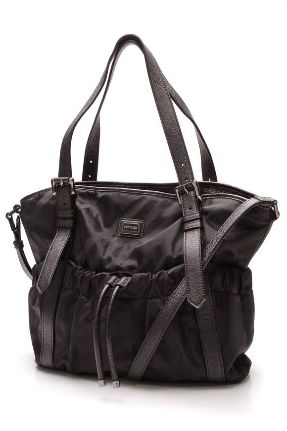 Burberry Diaper Tote Bag Black Supernova Check Nylon