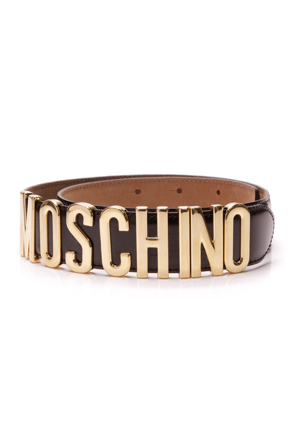 Moschino Logo Belt Black Gold Size 42