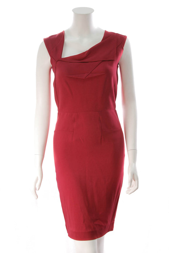 Roland Mouret Sleeveless Asymmetrical Dress Red Size 6