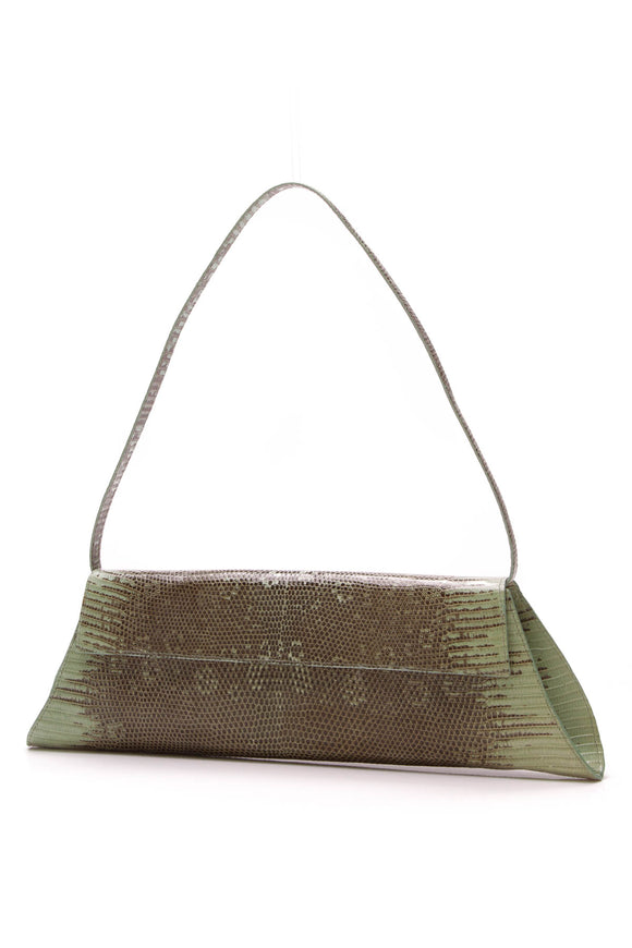 Nancy Gonzalez Lizard Flap Clutch Bag Green