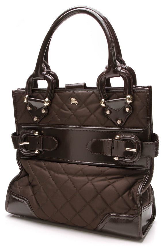 Burberry Quilted Nylon Double Buckle Tote Bag Brown