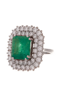 Emerald Diamond Estate Ring White Gold Size 6