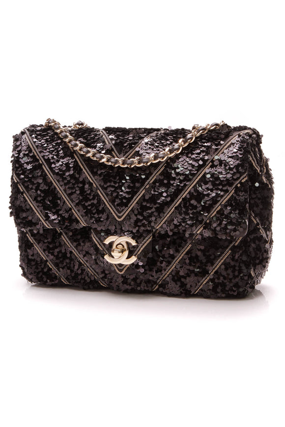Chanel 2019 Chevron Sequin Chains Bag Black Gold