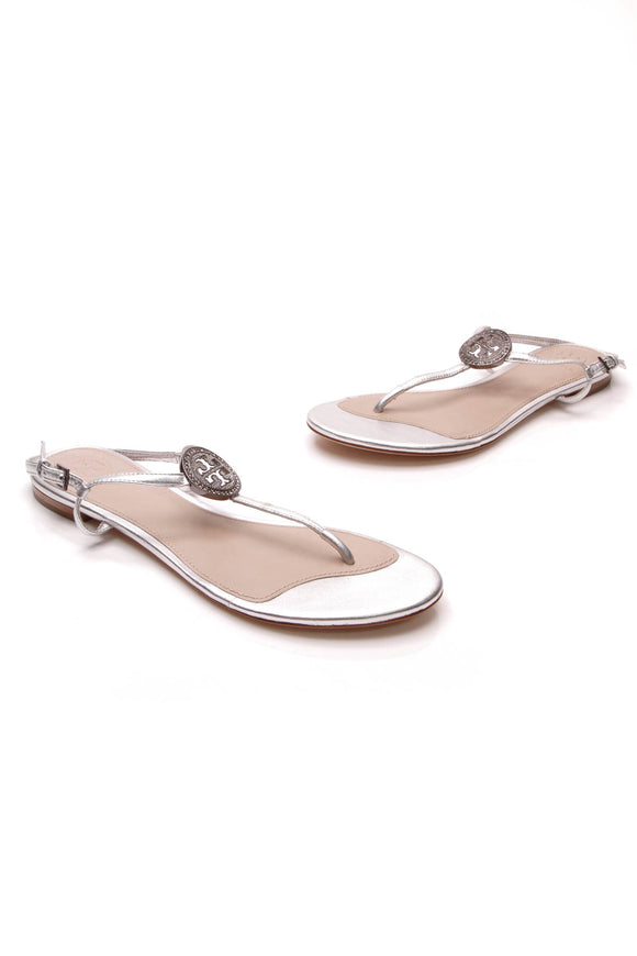 Tory Burch Liana T-Strap Sandals Silver Size 8