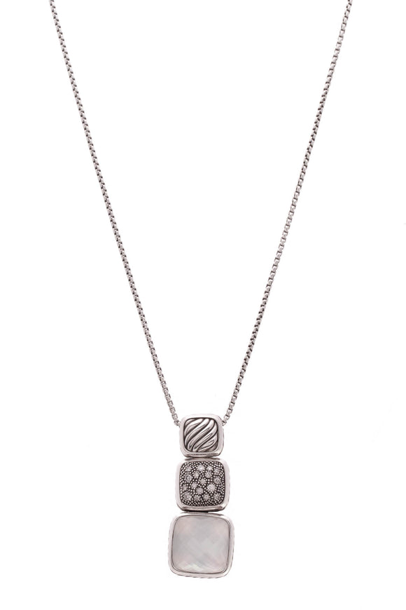 David Yurman Chiclet Pendant Necklace Silver