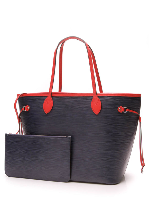 Louis Vuitton Epi Neverfull MM Tote Bag Indigo Coquelicot Navy Red