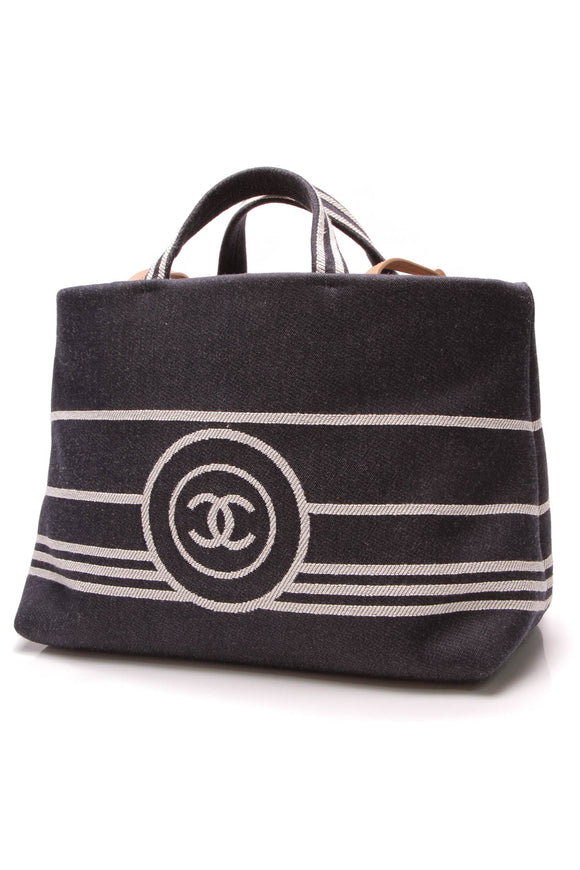 Chanel Denim Large Tote Bag Navy