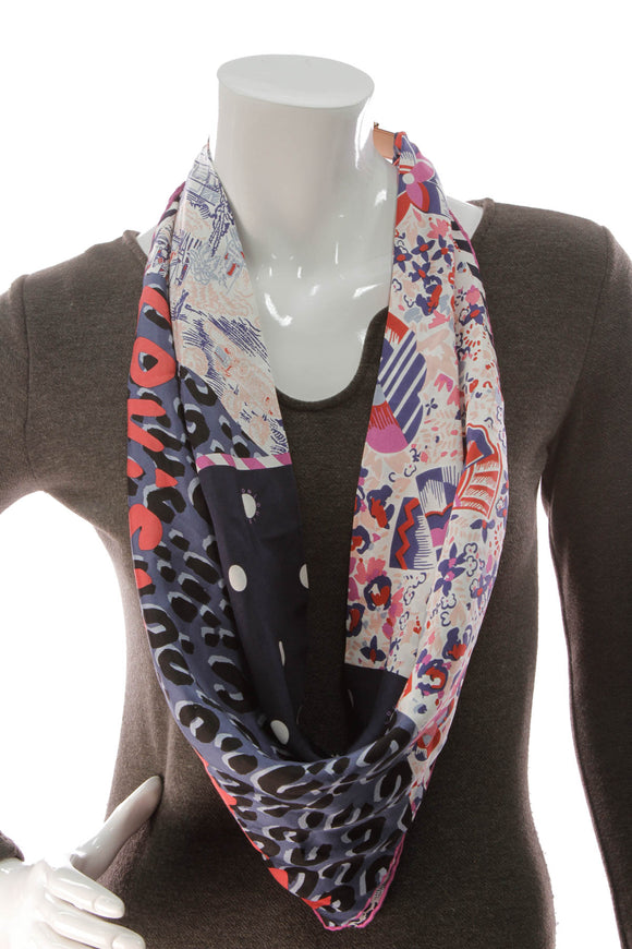 Louis Vuitton Bleu Lagoon Merveille Scarf with Buckle Multicolor Silk