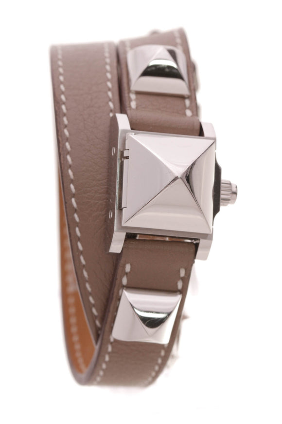 Hermes Medor TPM Double Tour 16mm Watch Etoupe Swift Leather Taupe