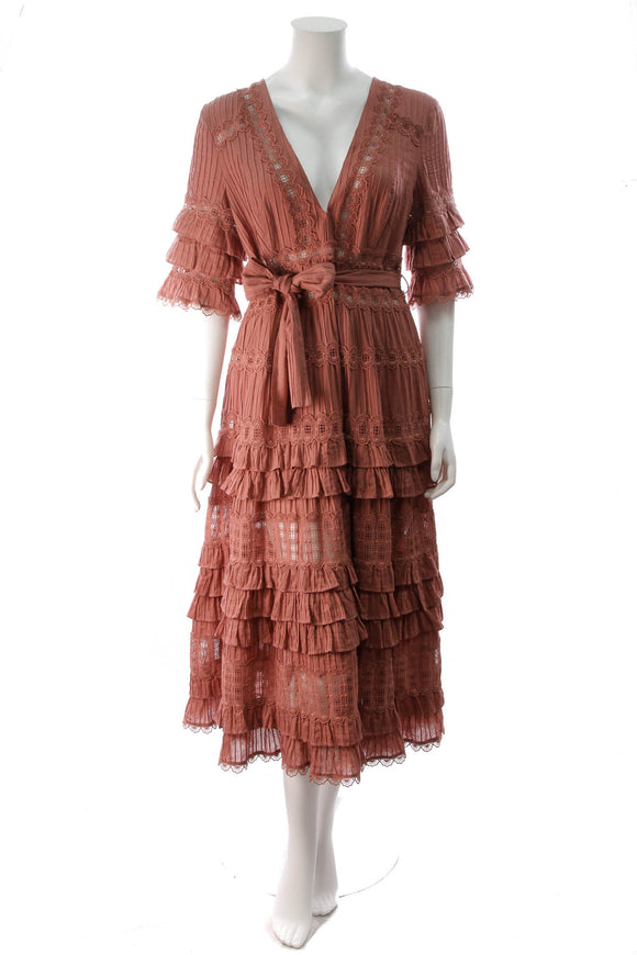 Zimmerman Corsair Ruffled Midi Dress Rose Size 3 Pink
