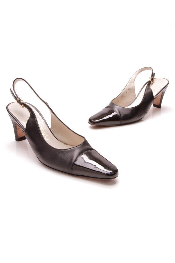 Salvatore Ferragamo Slingback Kitten Pumps Black Size 6