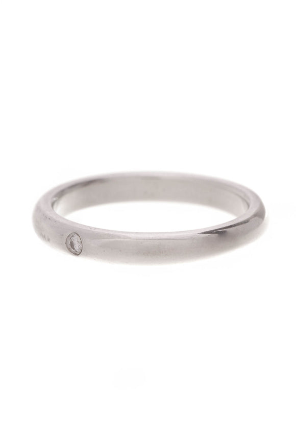 Tiffany & Co. Elsa Peretti Diamond Stacking Ring Silver Size 6