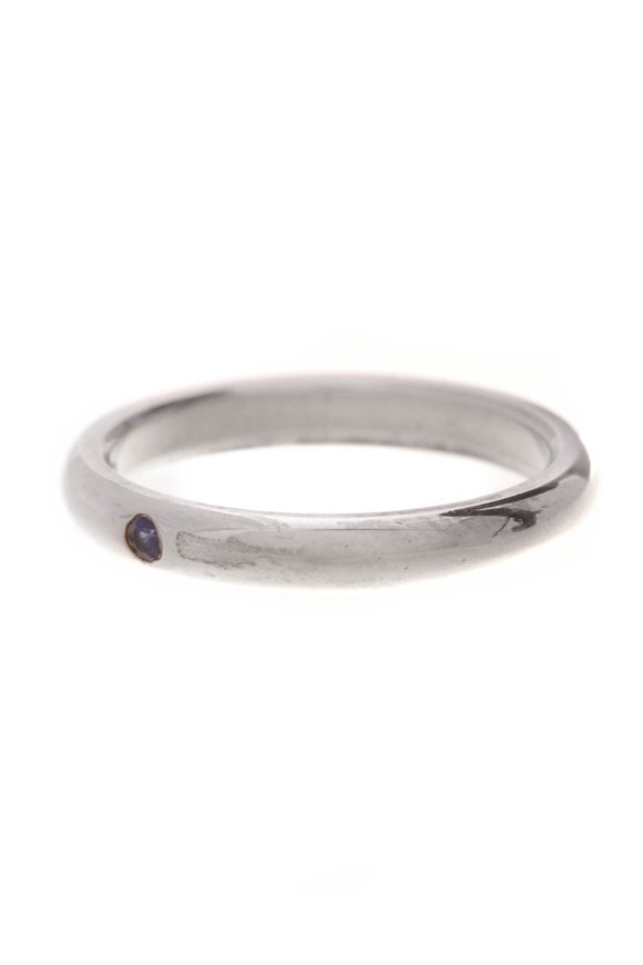 Tiffany & Co. Elsa Peretti Blue Sapphire Stacking Ring Silver Size 6